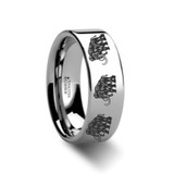Dinosaur Mammoth Engraved Flat Tungsten Wedding Band