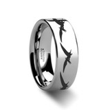 Dinosaur Pterodactyl Engraved Flat Tungsten Wedding Band
