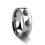 Dinosaur Stegosaurus Engraved Flat Tungsten Wedding Band