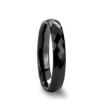 Draco Faceted Black Ceramic Wedding Band