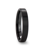 Drakon Flat Brushed Black Ceramic Wedding Band
