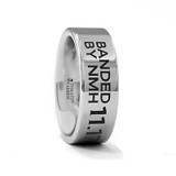 Duck Wedding Band Engraved Flat Tungsten Wedding Band