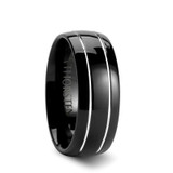 Eclipse Black Domed Tungsten Wedding Band with Offset Grooves