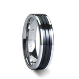 Edinburgh Flat Grooved Tungsten Wedding Band with Ceramic Inlay