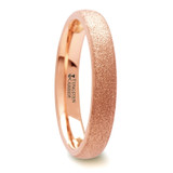 Ember Sandblasted Domed Tungsten Wedding Band with Rose Gold Plating