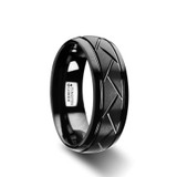 Enigma Domed Black Tungsten Wedding Band with Brushed Diagonal Pattern