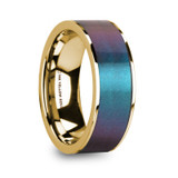 Eugen 14k Yellow Gold Men's Wedding Band with Blue/Purple Color Changing Inlay