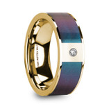 Eusebios 14k Yellow Gold Men's Wedding Band with Blue/Purple Color Changing Inlay & Diamond