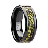 Everglade Black Ceramic Wedding Band with Green Marsh Camouflage Inlay