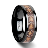 Fang Black Ceramic Wedding Band with Boa Snake Skin Design Inlay