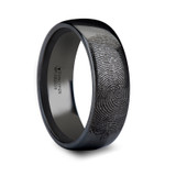 Fingerprint Engraved Domed Black Tungsten Wedding Band