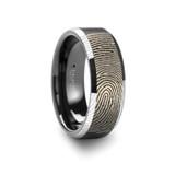 Fingerprint Engraved Flat Brushed Black Tungsten Wedding Band
