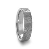 Fingerprint Engraved  Tungsten Brushed Wedding Band