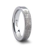Fingerprint Engraved Flat Tungsten Wedding Band