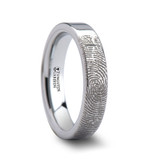 Fingerprint Engraved Flat Tungsten Wedding Band