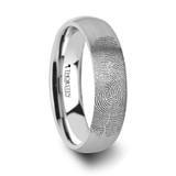 Fingerprint Engraved Domed Brushed Tungsten Wedding Band