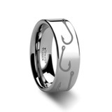 Fishing Hook Pattern Engraved Flat Tungsten Wedding Band