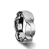 Forever Brushed White Tungsten Wedding Band with Infinity Symbol