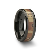 Fox Black Ceramic Wedding Band with Military Style Desert Camo