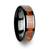 Gabon Black Ceramic Wedding Band with Mahogany Wood Inlay