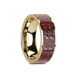 Gaelan Flat 14k Yellow Gold Men's Wedding Band with Red Dinosaur Bone Inlay
