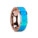 Gage Flat 14k Rose Gold Men's Wedding Band with Blue Opal Inlay