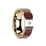 Gaia Flat 14k Yellow Gold Men's Wedding Band Red Dinosaur Bone Inlay & Diamond