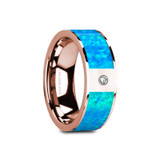 Gaios Flat 14k Rose Gold Men's Wedding Band with Blue Opal Inlay & Diamond