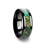 Galactic Black Ceramic Wedding Band and Blue & Orange Opal Inlay
