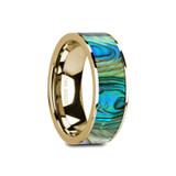 Galan Flat 14k Yellow Gold Men's Wedding Band with Mother of Pearl Inlay