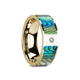 Galatea Flat 14k Yellow Gold Men's Wedding Band with Mother of Pearl Inlay & Diamond