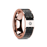Galesi Flat 14k Rose Gold Men's Wedding Band with Blue Dinosaur Bone Inlay & Diamond