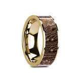 Galinthias Flat 14k Yellow Gold Men's Wedding Band with Brown Dinosaur Bone Inlay