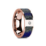 Gallus Flat 14k Rose Gold Men's Wedding Band with Blue Lapis Lazuli Inlay & Diamond