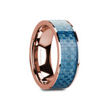 Ganesh Flat 14k Rose Gold Men's Wedding Band with Blue Carbon Fiber Inlay