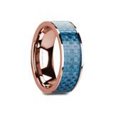 Ganesh Flat 14k Rose Gold Men's Wedding Band with Blue Carbon Fiber Inlay