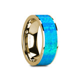 Ganymede Flat 14k Yellow Gold Men's Wedding Band with Blue Opal Inlay