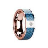 Garth Flat 14k Rose Gold Men's Wedding Band with Blue Carbon Fiber Inlay & Diamond