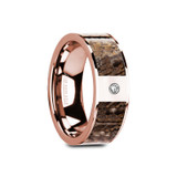 Gavino Flat 14k Rose Gold Men's Wedding Band with Brown Dinosaur Bone Inlay & Diamond