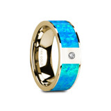 Gelasia Flat 14k Yellow Gold Men's Wedding Band with Blue Opal Inlay & Diamond
