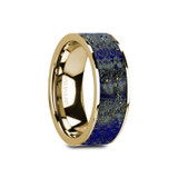 Gelasius Flat 14k Yellow Gold Men's Wedding Band with Blue Lapis Lazuli Inlay