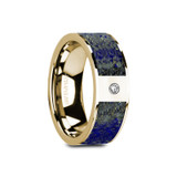 Gene Flat 14k Yellow Gold Men's Wedding Band with Blue Lapis Lazuli Inlay & Diamond