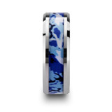 General Tungsten Wedding Band with Blue & White Camouflage Inlay