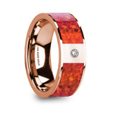 Giannes 14k Rose Gold Men's Wedding Band with Red Opal Inlay & Diamond