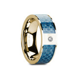 Giles Flat 14k Yellow Gold Men's Wedding Band with Blue Carbon Fiber Inlay & Diamond