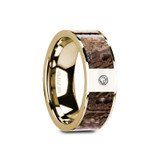 Glauce Flat 14k Yellow Gold Men's Wedding Band with Brown Dinosaur Bone Inlay & Diamond