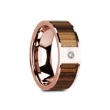 Glaucus Flat 14k Rose Gold Men's Wedding Band with Zebra Wood Inlay & Diamond