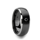 Gotham Domed Black Ceramic Wedding Band with Tungsten Edges & Black Diamond