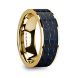 Gregor Flat 14k Yellow Gold Men's Wedding Band with Blue & Black Carbon Fiber Inlay