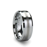 Grenoble Tungsten Wedding Band with Brushed Stripe
